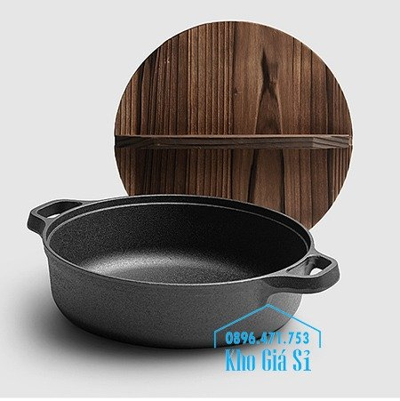 Chuyên cung cấp nồi gang đen đúc nguyên khối, nồi gang đen nấu lẩu cho nhà hàng, nồi gang đen cao cấp nhập khẩu nắp gỗ57