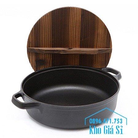 Chuyên cung cấp nồi gang đen đúc nguyên khối, nồi gang đen nấu lẩu cho nhà hàng, nồi gang đen cao cấp nhập khẩu nắp gỗ40