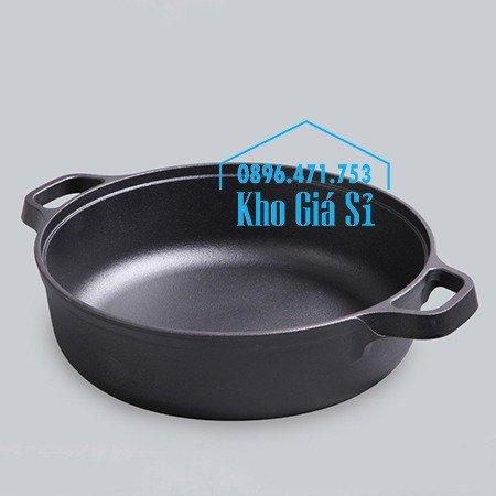 Chuyên cung cấp nồi gang đen đúc nguyên khối, nồi gang đen nấu lẩu cho nhà hàng, nồi gang đen cao cấp nhập khẩu nắp gỗ21