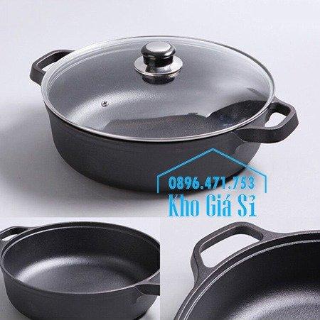Chuyên cung cấp nồi gang đen đúc nguyên khối, nồi gang đen nấu lẩu cho nhà hàng, nồi gang đen cao cấp nhập khẩu nắp gỗ17