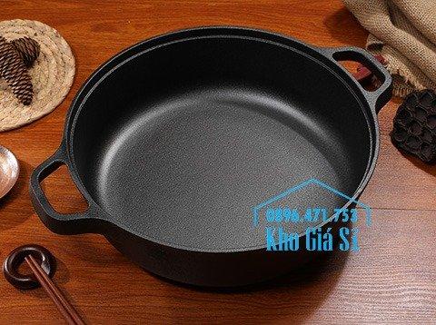 Chuyên cung cấp nồi gang đen đúc nguyên khối, nồi gang đen nấu lẩu cho nhà hàng, nồi gang đen cao cấp nhập khẩu nắp gỗ16