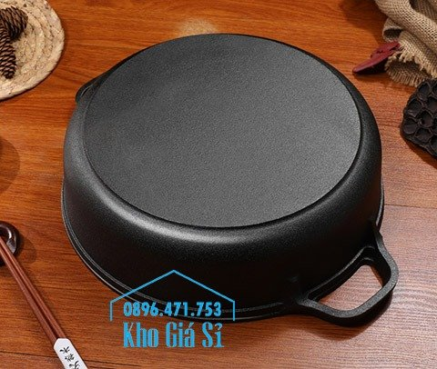 Chuyên cung cấp nồi gang đen đúc nguyên khối, nồi gang đen nấu lẩu cho nhà hàng, nồi gang đen cao cấp nhập khẩu nắp gỗ15