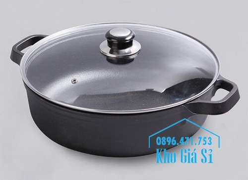 Chuyên cung cấp nồi gang đen đúc nguyên khối, nồi gang đen nấu lẩu cho nhà hàng, nồi gang đen cao cấp nhập khẩu nắp gỗ8