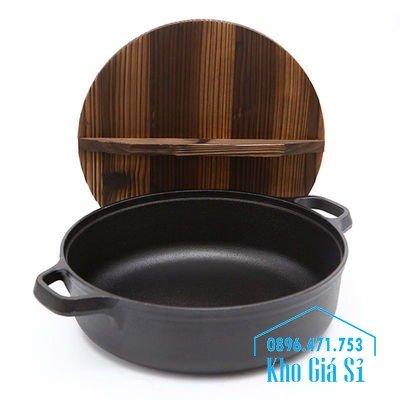 Chuyên cung cấp nồi gang đen đúc nguyên khối, nồi gang đen nấu lẩu cho nhà hàng, nồi gang đen cao cấp nhập khẩu nắp gỗ7