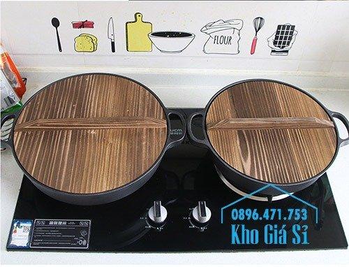 Chuyên cung cấp nồi gang đen đúc nguyên khối, nồi gang đen nấu lẩu cho nhà hàng, nồi gang đen cao cấp nhập khẩu nắp gỗ5