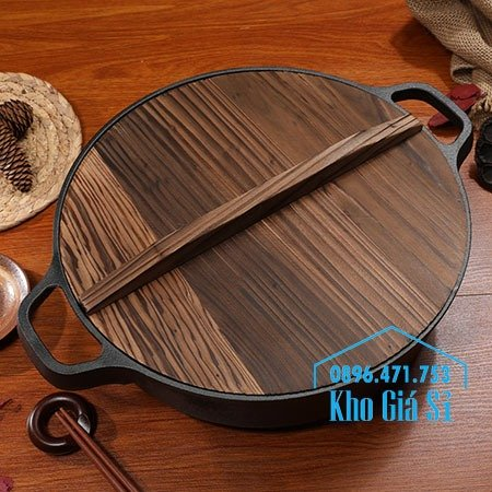 Chuyên cung cấp nồi gang đen đúc nguyên khối, nồi gang đen nấu lẩu cho nhà hàng, nồi gang đen cao cấp nhập khẩu nắp gỗ4