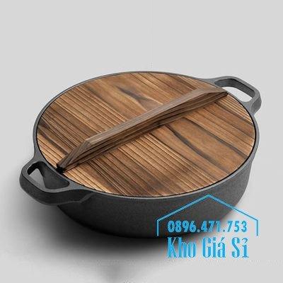 Chuyên cung cấp nồi gang đen đúc nguyên khối, nồi gang đen nấu lẩu cho nhà hàng, nồi gang đen cao cấp nhập khẩu nắp gỗ0