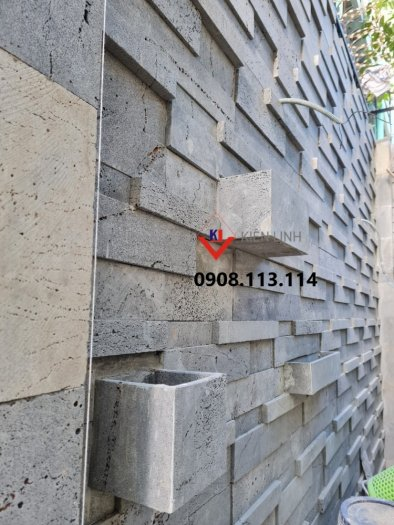 Đá 3D ốp tường ong xám - Ốp tường rào, ốp sân vườn đẹp3