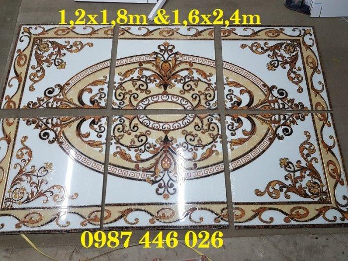 Thảm gạch sàn nhà khắc vàng phòng khách HP980011