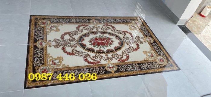 Thảm gạch sàn nhà khắc vàng phòng khách HP98009