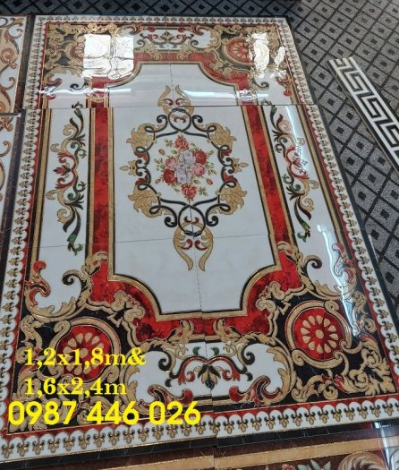 Thảm gạch sàn nhà khắc vàng phòng khách HP98006