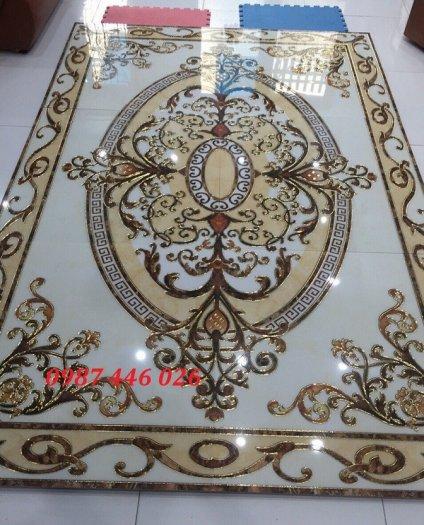 Thảm gạch sàn nhà khắc vàng phòng khách HP98002