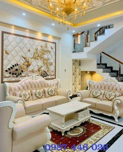 Thảm gạch sàn nhà khắc vàng phòng khách HP98001