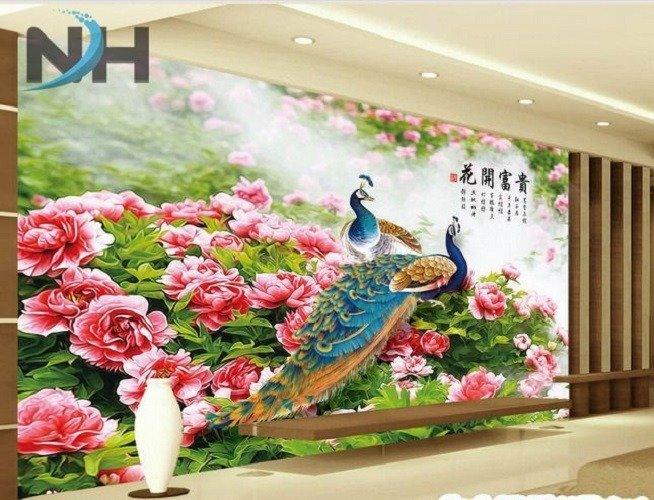 Tranh gạch chim công 3d - gạch tranh 3d chim công - HC338