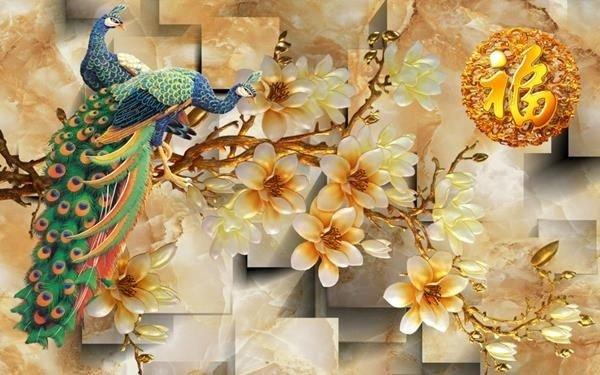 Tranh gạch chim công 3d - gạch tranh 3d chim công - HC336