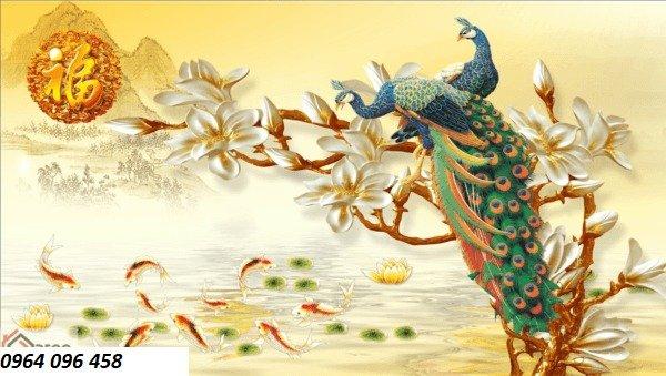 Tranh gạch chim công 3d - gạch tranh 3d chim công - HC333