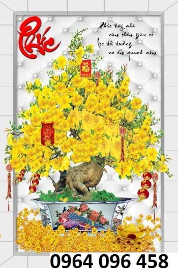 Tranh hoa mai - gạch tranh 3d hoa mai - HB4410