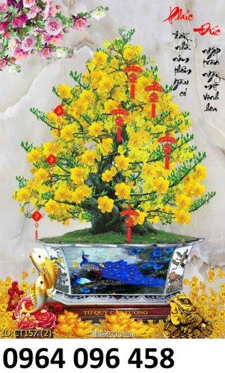Tranh hoa mai - gạch tranh 3d hoa mai - HB442