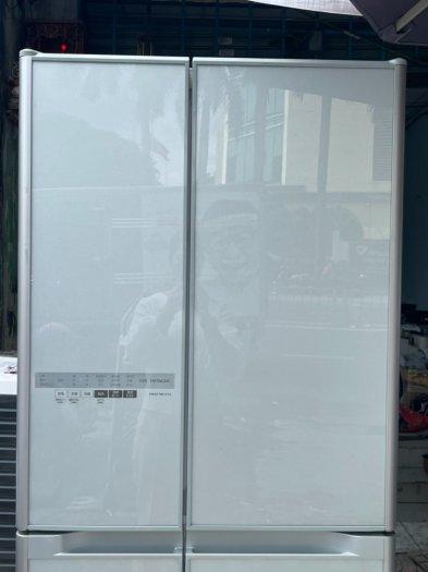 Tủ lạnh HITACHI R-C5200 6 cánh, mặt gương Xám xanh, 517Lít, Date 20137