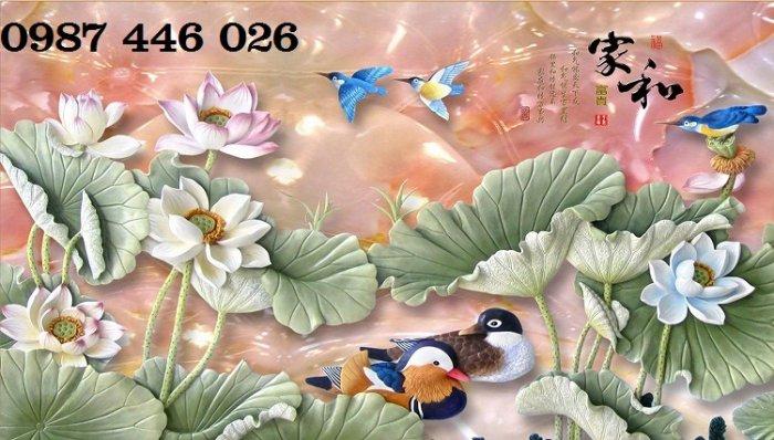 Tranh gạch men hoa sen tuyệt đẹp HP46229