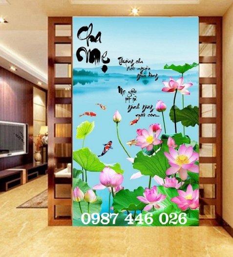Tranh gạch men hoa sen tuyệt đẹp HP46227
