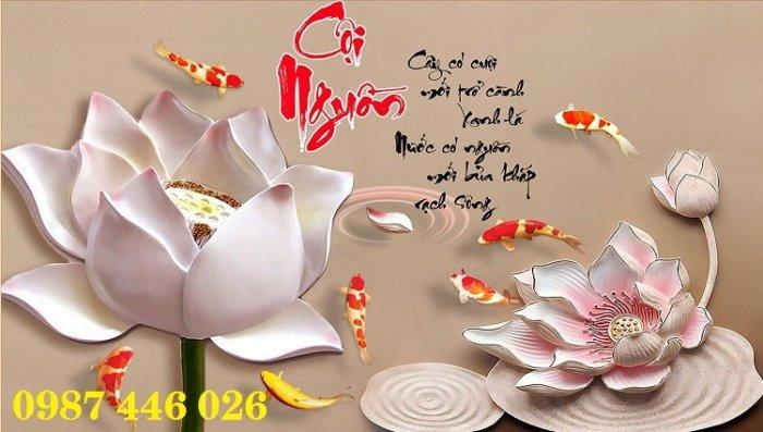 Tranh gạch men hoa sen tuyệt đẹp HP46226