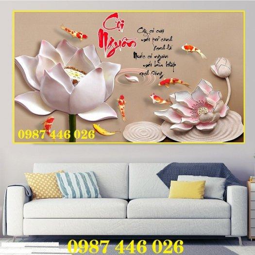 Tranh gạch men hoa sen tuyệt đẹp HP46225