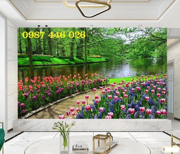 Tranh gạch men vườn hoa ốp tường 3d HP08985