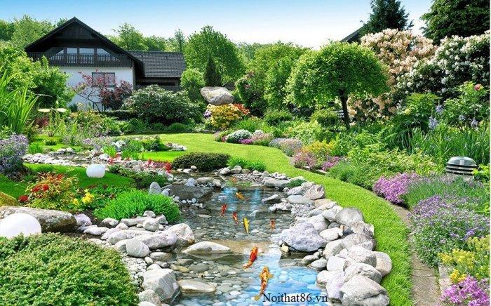 Gạch tranh phong cảnh sân vườn HP8900