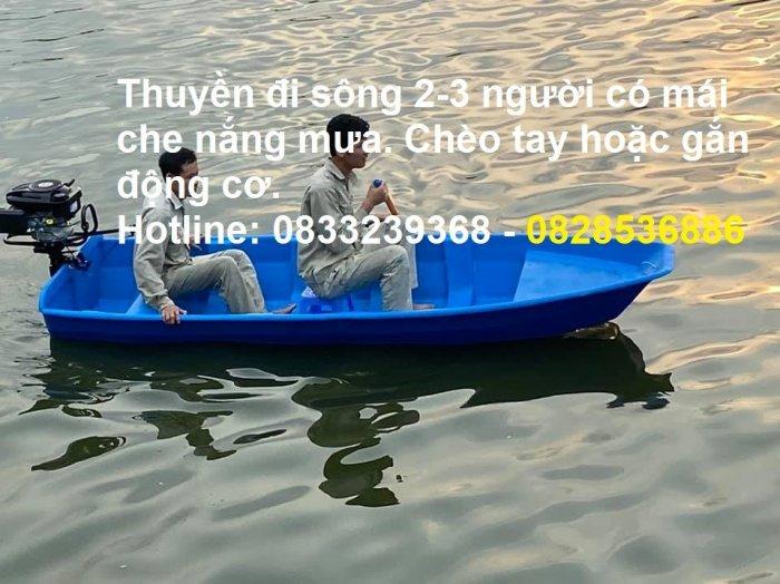 Thuyền đi sông 2-3 người có mái che nắng mưa tặng kèm áo phao cứu sinh2