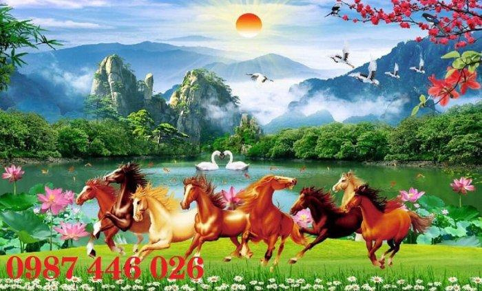 Tranh gạch men ngựa mã đáo thành công ốp tường HP5296