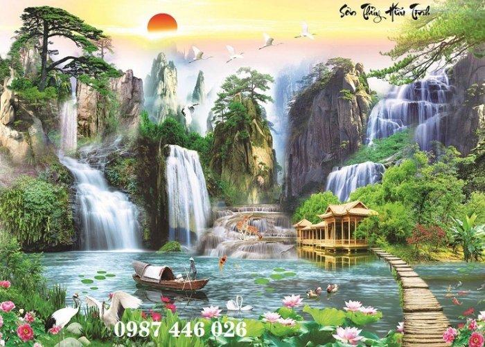 Tranh gạch phong cảnh thiên nhiên tuyệt đẹp HP90909