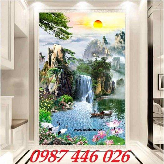 Gạch tranh 3d phong cảnh thác nước khổ đứng HP70011