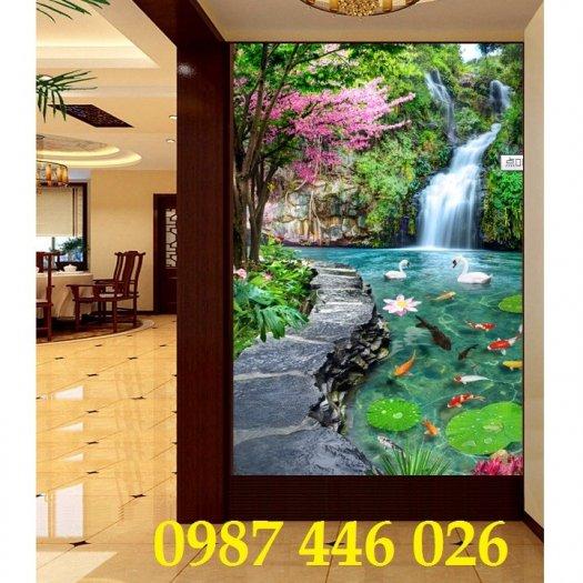 Gạch tranh 3d phong cảnh thác nước khổ đứng HP70010