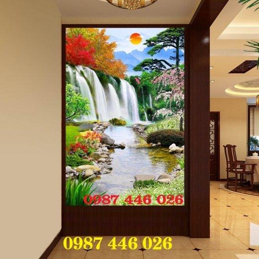 Gạch tranh 3d phong cảnh thác nước khổ đứng HP7007