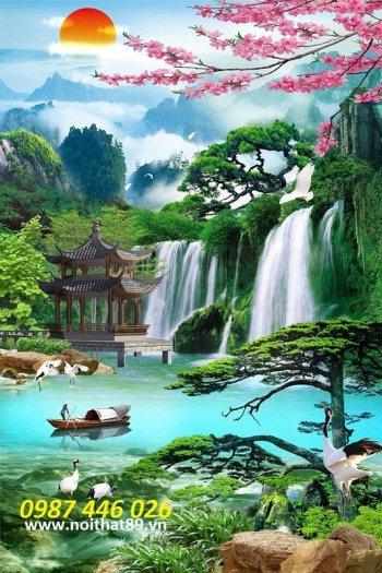 Gạch tranh 3d phong cảnh thác nước khổ đứng HP7003