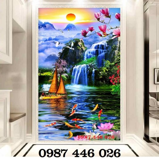 Gạch tranh 3d phong cảnh thác nước khổ đứng HP7002