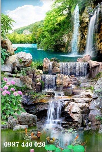 Gạch tranh 3d phong cảnh thác nước khổ đứng HP7001