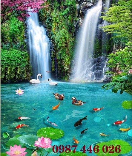 Gạch tranh 3d phong cảnh thác nước khổ đứng HP7000