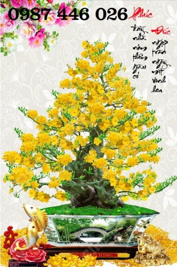 Tranh gạch men hoa mai ốp tường HP08814