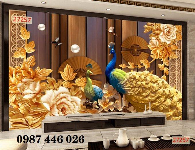 Tranh gạch men chim công ốp trên tường đẹp HP9770