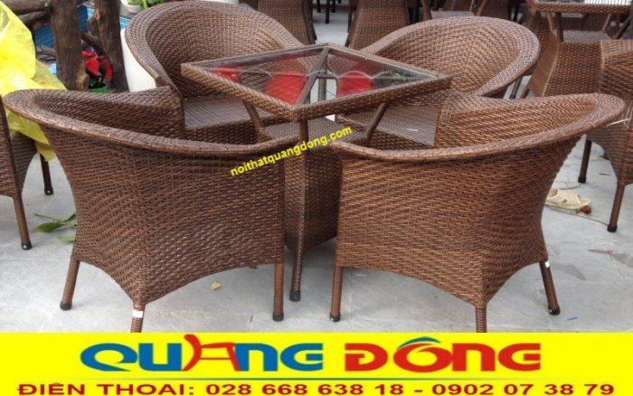Bàn ghế giả mây cafe QD-0742