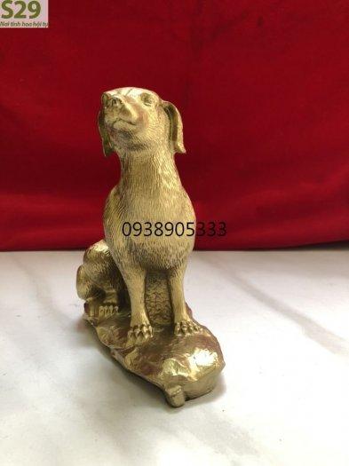 Tượng Chó Đá Bằng Đồng,Vật Phẩm Phong Thủy cao 15cm1
