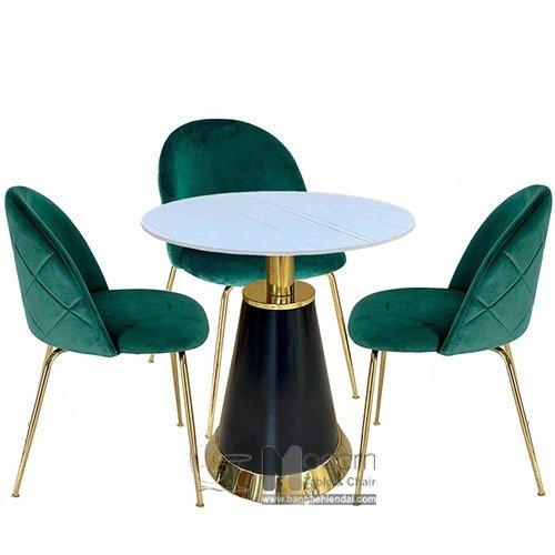 Bộ bàn ghế tiếp khách showroom tròn 70 TE Bell Velvet B hiện đại tại HCM0
