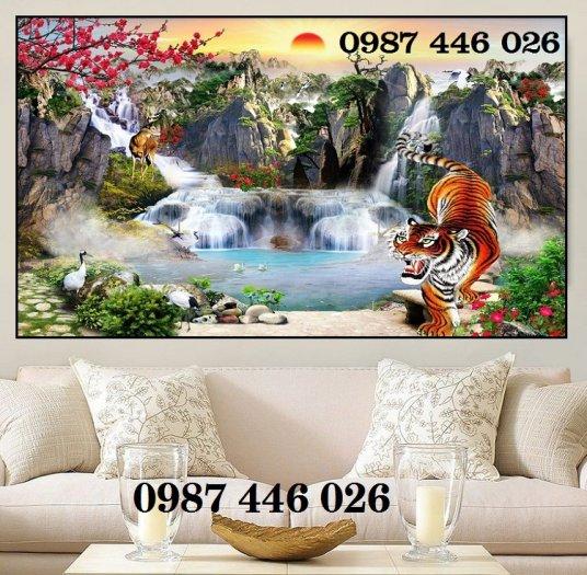 Gạch tranh phong thủy ốp tường phòng khách HP076611
