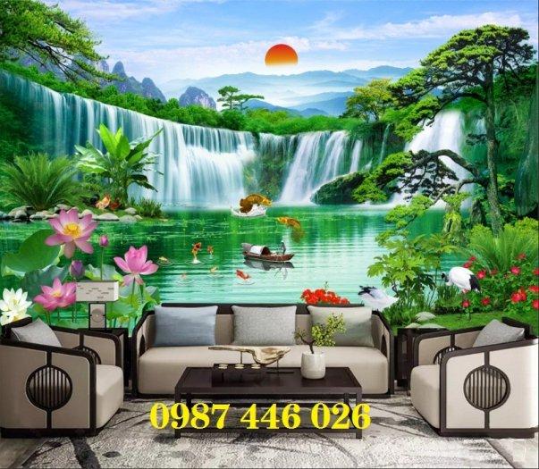 Gạch tranh phong thủy ốp tường phòng khách HP076610