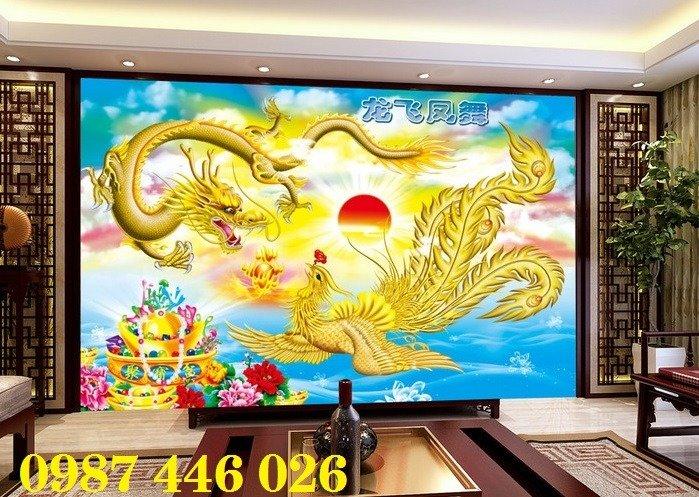 Gạch tranh phong thủy ốp tường phòng khách HP07669
