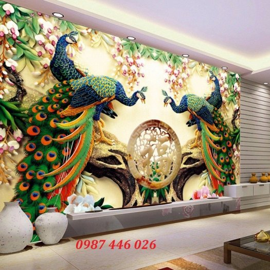 Gạch tranh phong thủy ốp tường phòng khách HP07668