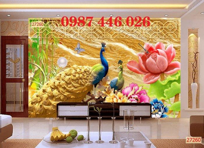 Gạch tranh phong thủy ốp tường phòng khách HP07667