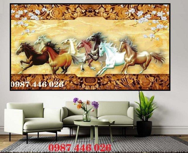 Gạch tranh phong thủy ốp tường phòng khách HP07662